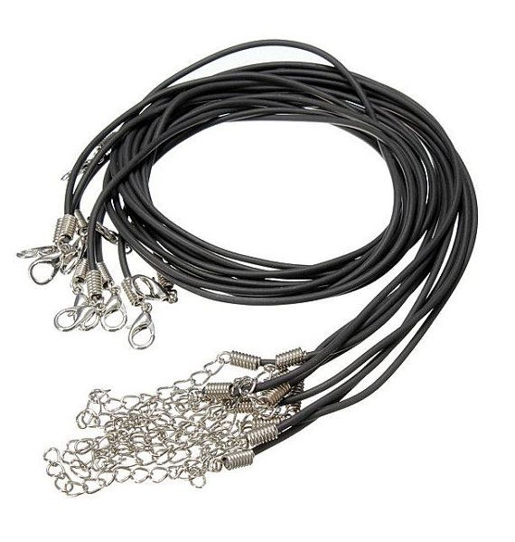 New 30pcs PU Rubber Lobster Clasp Black Necklace by SuppliesDiy