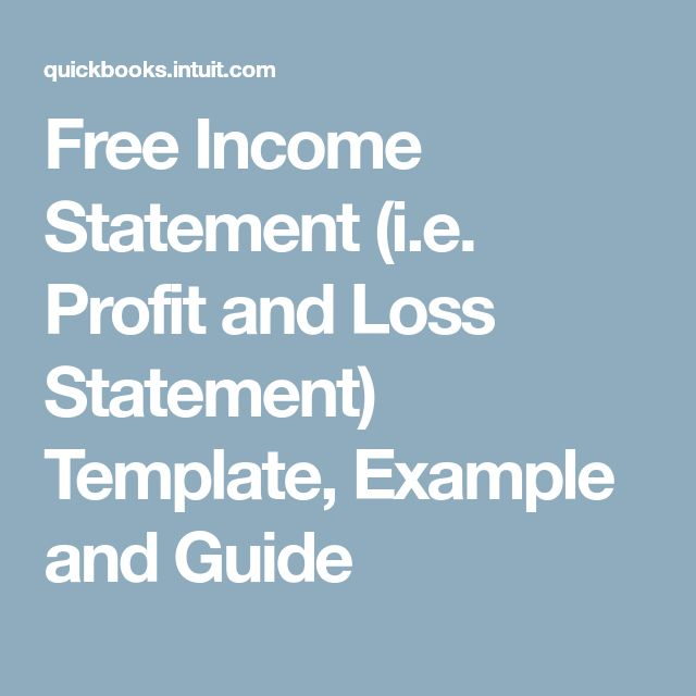 Free Income Statement (i.e. Profit and Loss Statement) Template, Example and Guide