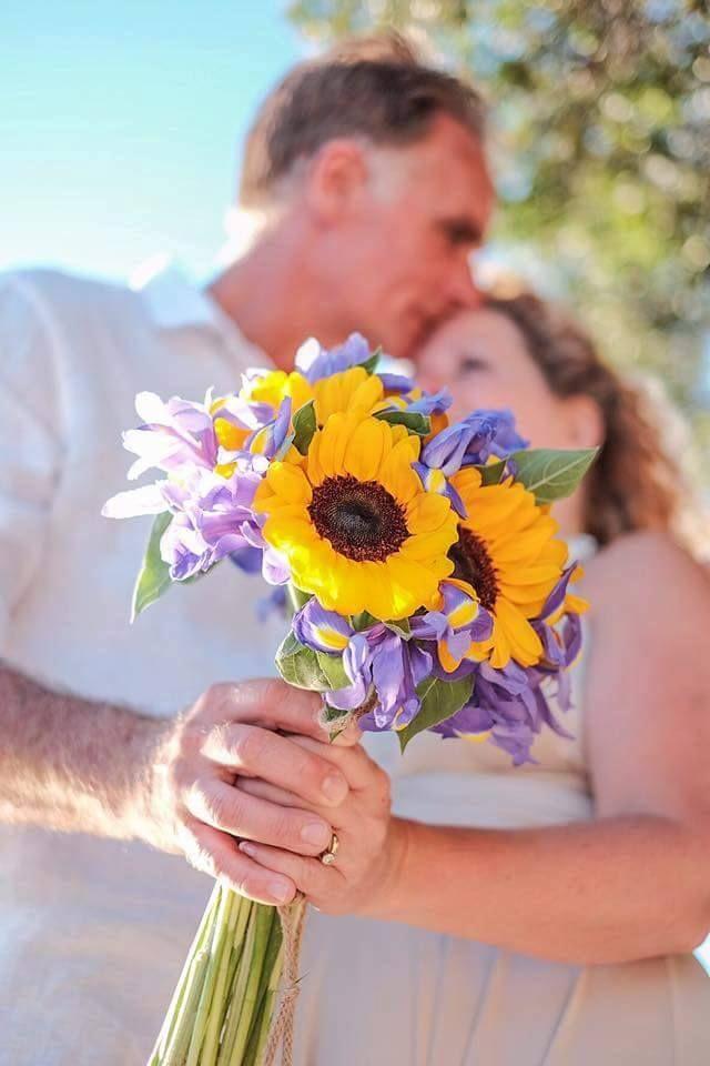 Sunflower and purple iris bride bouquet by Gourioti Flowers for @lefkasweddings
