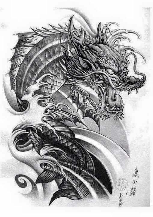 Koi dragon tattoo designs images for Black dragon koi