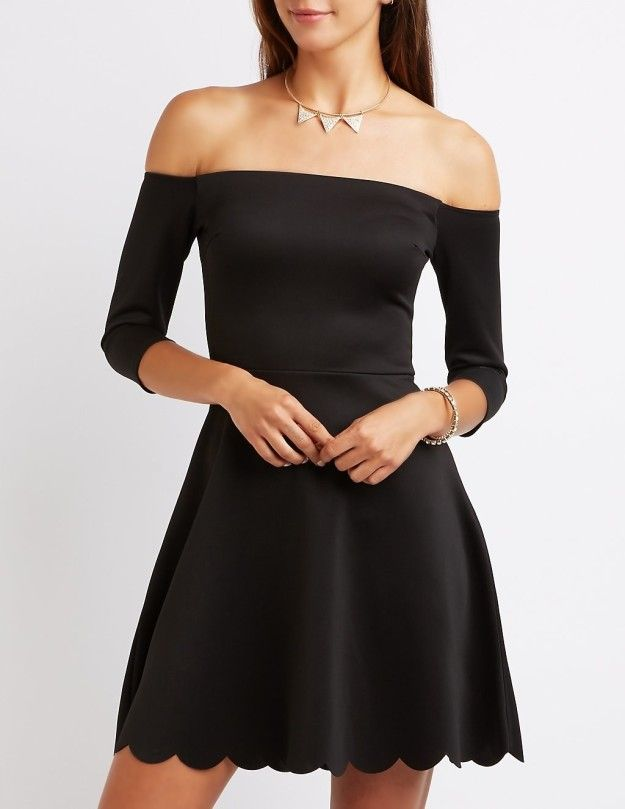 A shoulder-baring dress with a sweet scalloped hemline. | 30 Beautiful And Inexpensive Dresses You'll Want To Wear Every Day