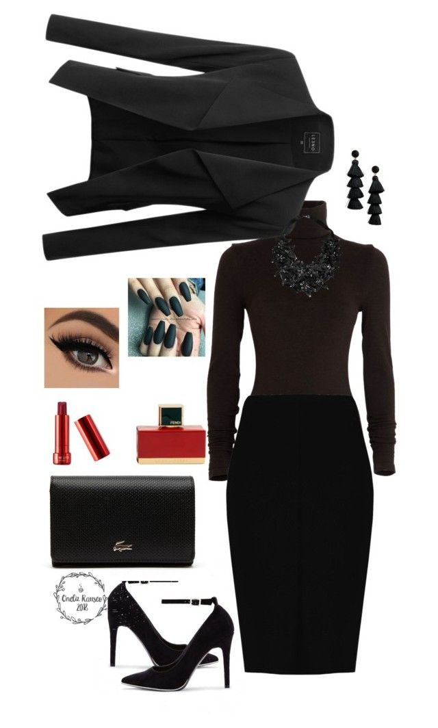"""""""Untitled #3"""" by onelizrauseo on Polyvore featuring Wolford, LE3NO, Boohoo, New Look, Lacoste, BaubleBar, Stefanel and Fendi"""