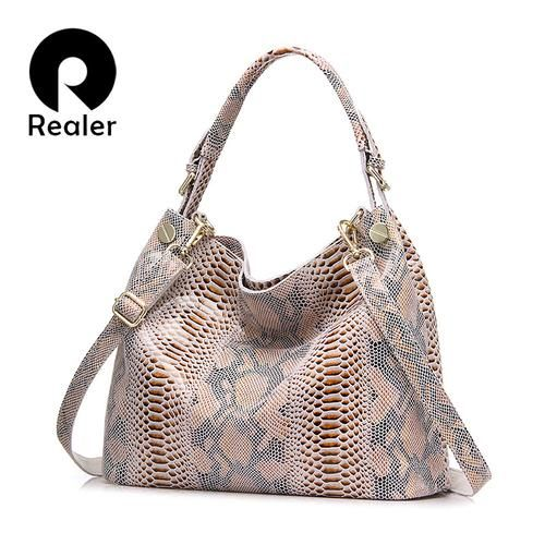 REALER brand genuine leather bag women fashion serpentine prints leather handbags female large shoulder bags hobos tote bag