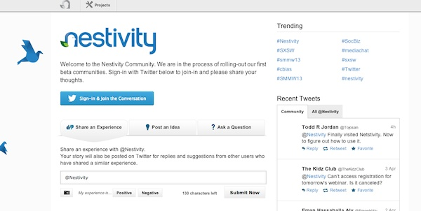Nestivity isn't a social network, rather it is a social technology that sits on top of Twitter to facilitate conversations and engagement better. As such, Nestivity is designed to help brands listen and respond to fan questions, experiences and suggestions, as well as manage and curate content in easily contextualized projects.