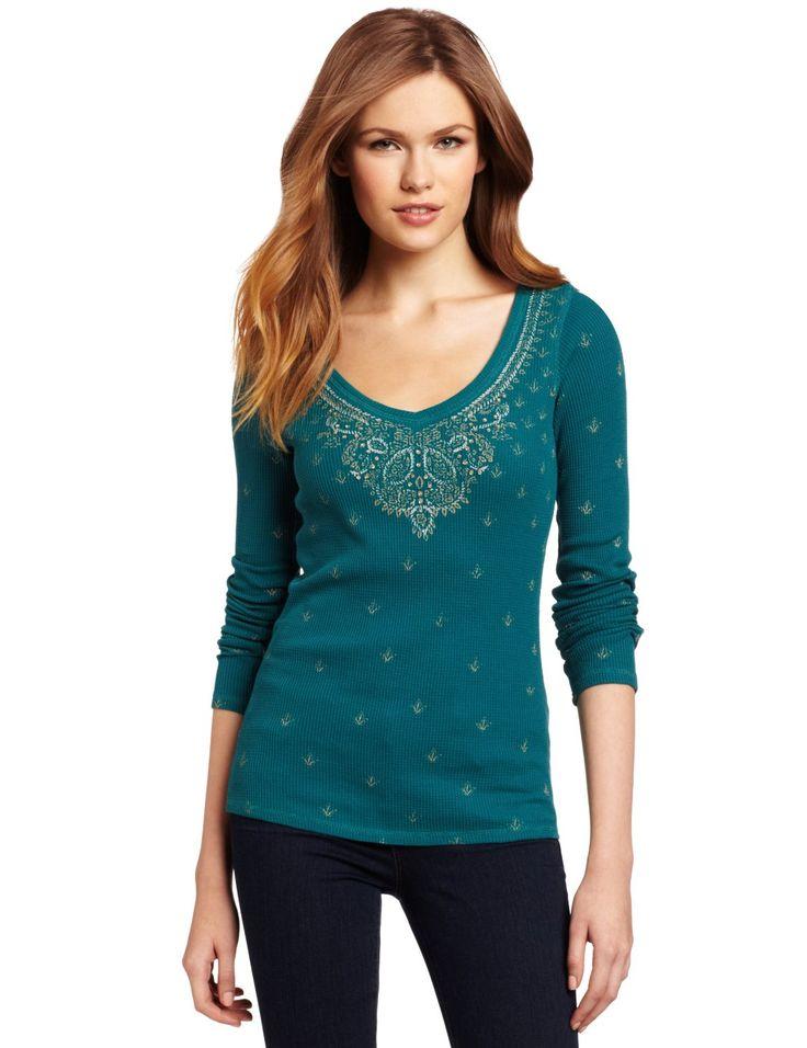 Amazon.com: Lucky Brand Women's Sari Printed Thermal Shirt, Satin Peacock, Small: Clothing