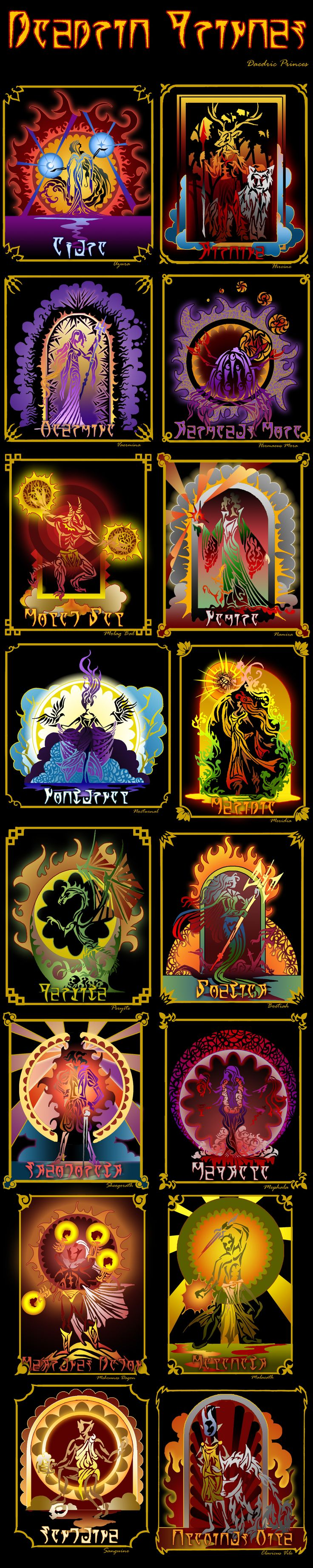 TES: Daedric Princes by vopoha on DeviantArt I really like these images. They would make great stained glass windows.