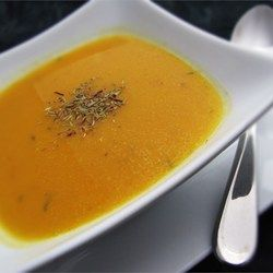 Best Butternut Squash Soup - cut in half and bake 425 with oil and salt and pepper for 20 min first