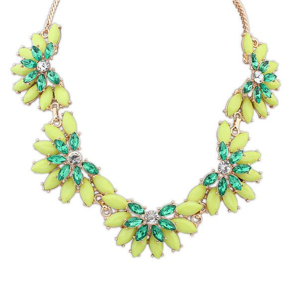 Charlotte Sumptuous Necklace £12.00  Green is an incredibly versatile colour, with the ability to match almost any other colour. This floral design necklace would compliment casual outfits, office attire, as well as formalwear. The multiple shades of green are easy on the eye, with the added bit of sparkle to catch the attention of your audience.