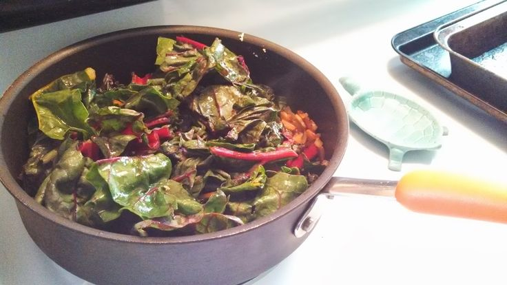 Sauteed Swiss Chard with Bacon and Onions