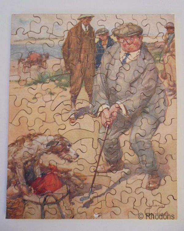 Vintage Wooden Zig Zag Jigsaw Puzzle A Bad Lie Golf