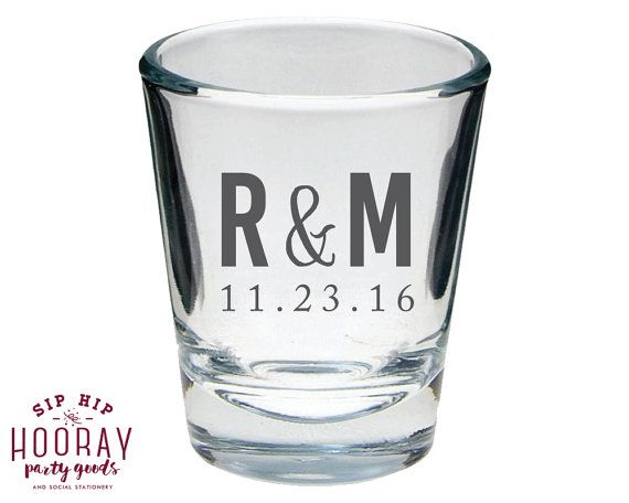 Monogrammed Shot Glass Wedding Shot Glasses Wedding Favors Initials Shot Glass Personalized Wedding Shot Glasses Wedding Gifts 1413 by SipHipHooray
