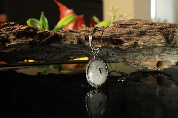 Tourmalinated Quartz Pendant (with silver chain) by designbyeSKay on Etsy