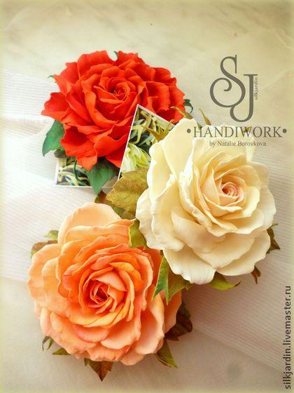 "ЦВЕТЫ ИЗ ФОАМИРАНА. брошь-заколка роза ""Миранда"" - оранжевый,роза,цветок"