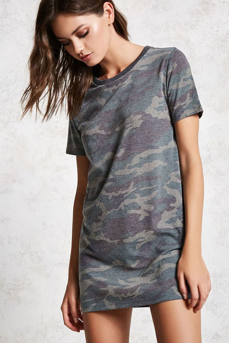 Product Name:Camo Print T-Shirt Dress, Category:dress, Price:10.9