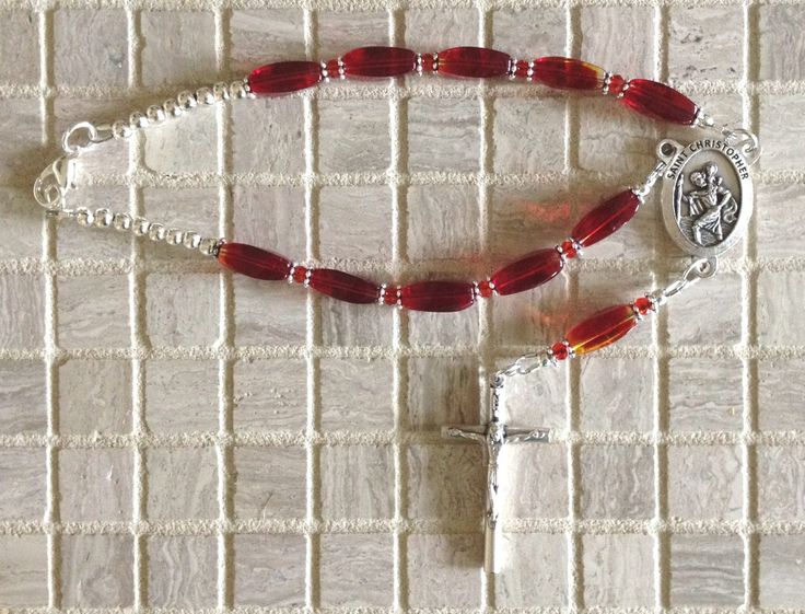 Red Glass Car Chaplet, Red Bead Car Chaplet, Catholic Car Rosary, St. Christopher Car Mirror Chaplet, Divine Mercy Chaplet for Car by RosariestoCherish on Etsy