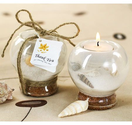 This sand and shell tealight holder is perfect for your beach event. Guests will enjoy lighting these tealight holders and enjoy memories of the shore.