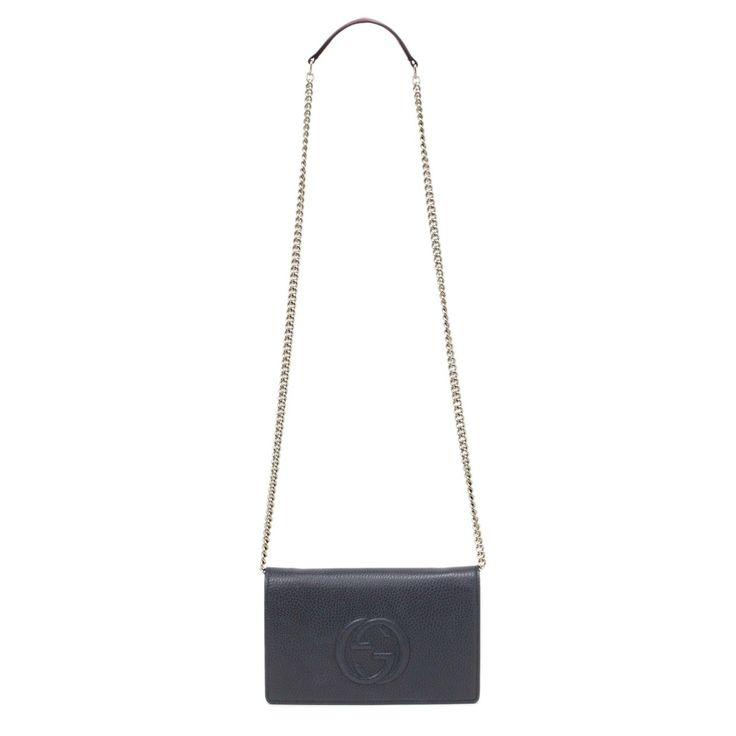 Gucci Blue Soho Leather Mini Chain Bag - modaselle