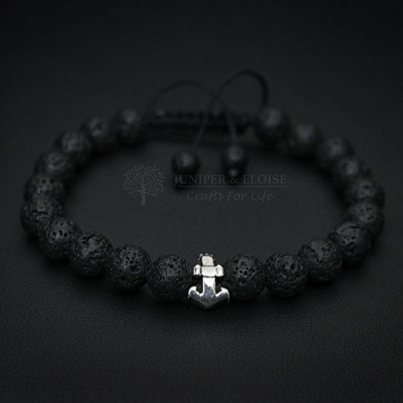 Anchor Bracelet Black Lava Bracelet 925 Silver Anchor charm