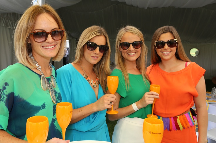 Amy Duncan, Melissa Festa, Rebecca Gundelach, Lara Corbiere make a colourful group at the Polo in the City