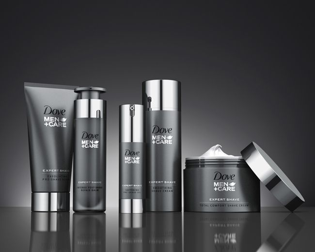 Dove Men+Care Expert Shave (Refinery) on Packaging of the World - Creative Package Design Gallery. Love the Metal looking tops