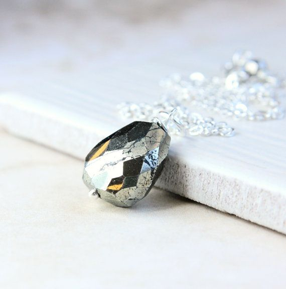 Chunky Pyrite Necklace  Sterling Silver  Gem   Stone  Necklace  Handmade Nugget Pendant  Rustic  Pyrite Jewelry Gemstone  Jewelry Fools Gold