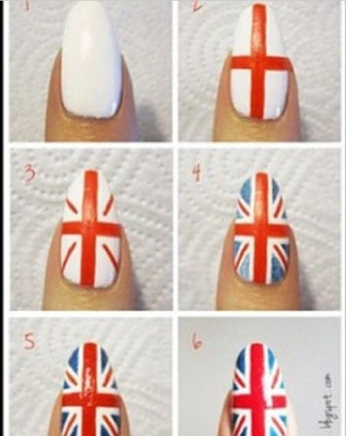Nail tutorial for British flag