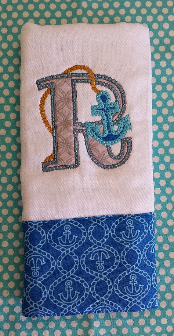 28 best personalized baby gifts embroidery images on pinterest personalized monogrammed burp cloth anchor with initial by kntry5 1000 negle Gallery