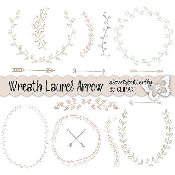 Hand draw wreath laurel clipart, wedding invitation digital, vintage bridal clipart, watercolor clipart, INSTANT DOWNLOAD on Etsy, $5.72 AUD