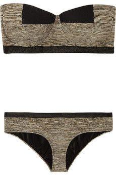 Bottega Veneta  Basket-print bandeau bikini