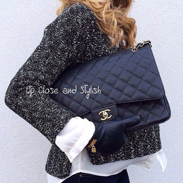 Up Close and Stylish - #Chanel 'Maxi bag' and #Hermès gloves.