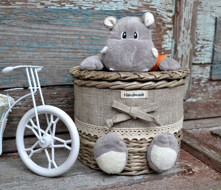 This is Adorable ~ It Appears to be the Upper Half of a Stuffed Hippo Attached to a Basket and His Feet Attached to the Side?