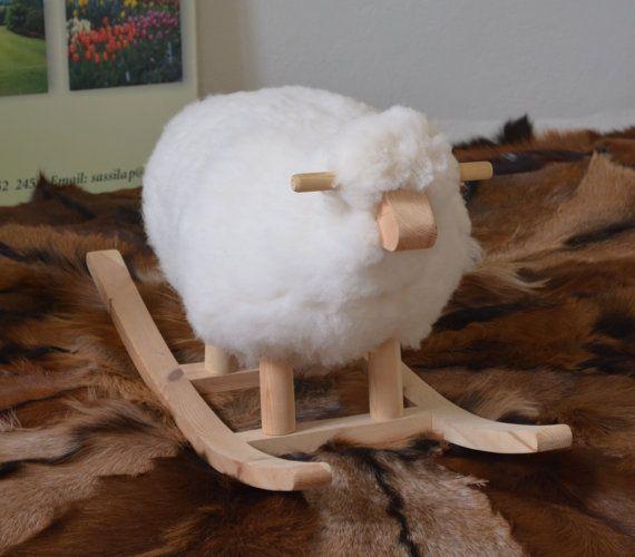 Child Rocking Chair Sheep Rocking Toy Sheep Skin By Thiyya