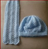 Knitting pattern for a matching lace scarf and beanie.
