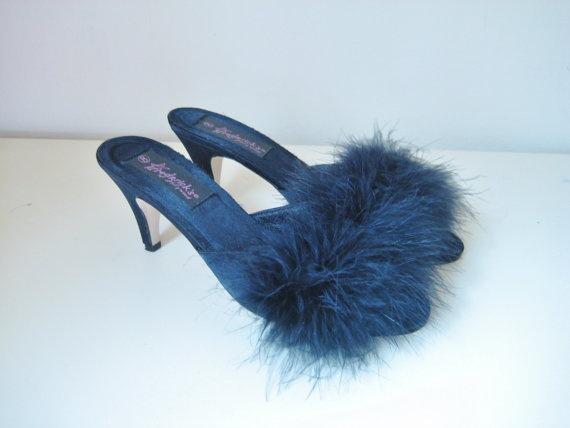 vintage black marabou slipper/ heels