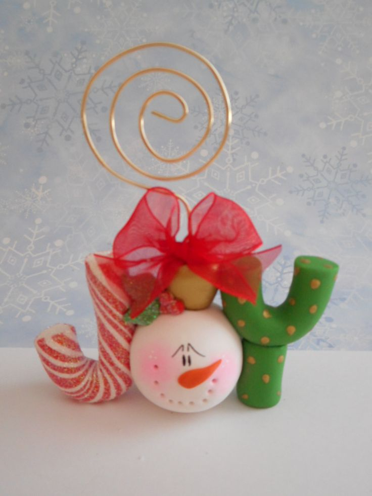 """Polymer Clay Snowman """"JOY"""" Card/Photo Holder - pinned by pin4etsy.com"""