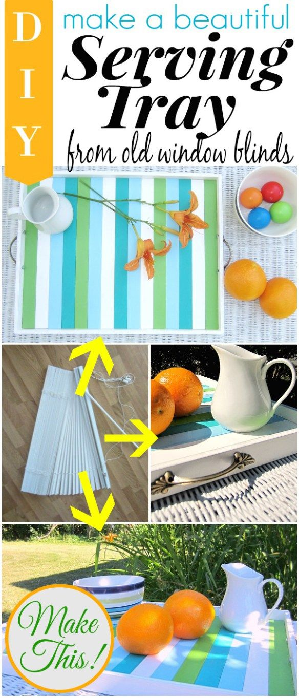 Beautiful diy serving tray from upcycled wooden window blinds in aqua, turqoise and green (love the colors! ). Upcycle your old window blinds into this fabulous decorative and pretty sturdy serving tray. Craft tutorial & photos by TwoPlusCute