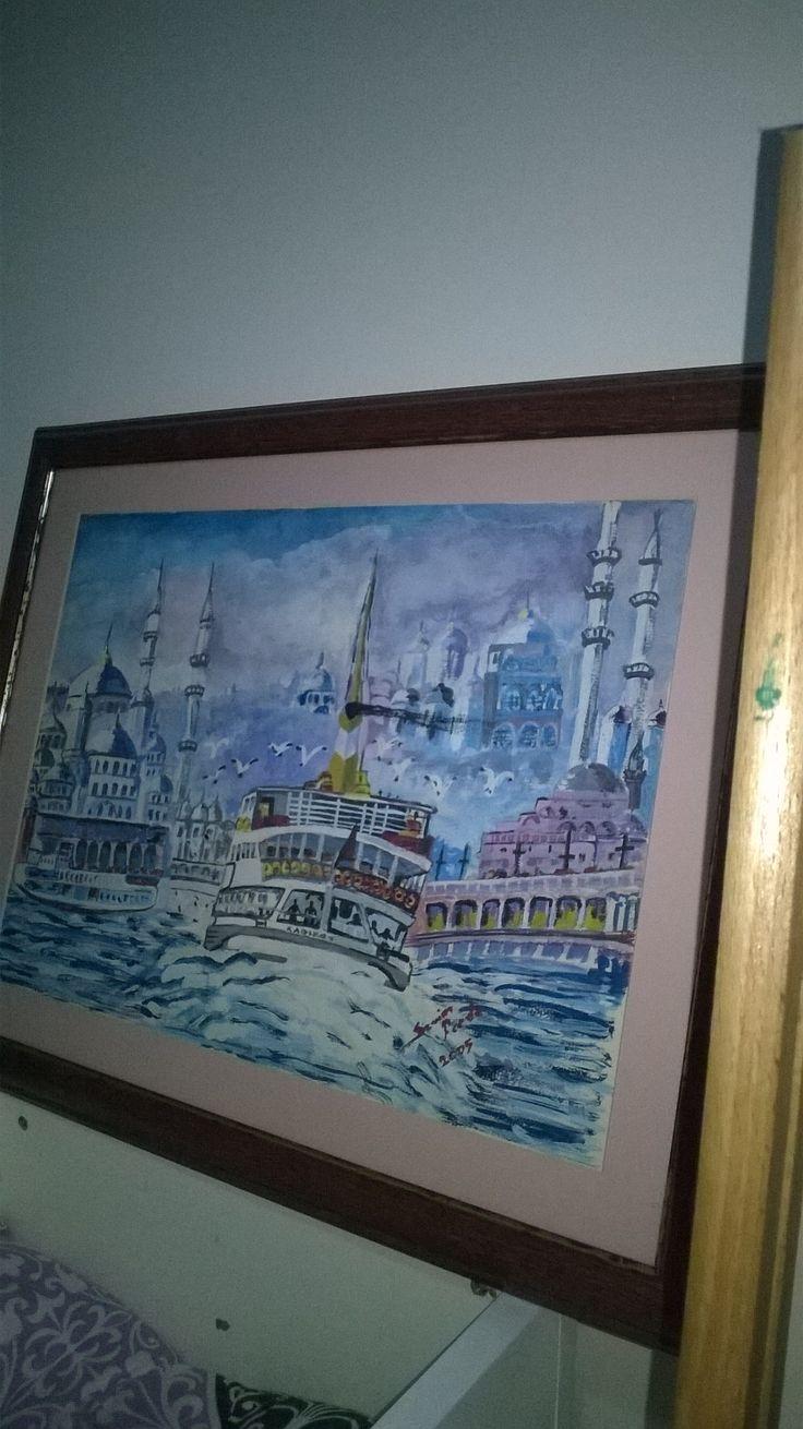 #guaş #boya #istanbul #vapur #eskilerden yapmış oldupym guaş çalışmam