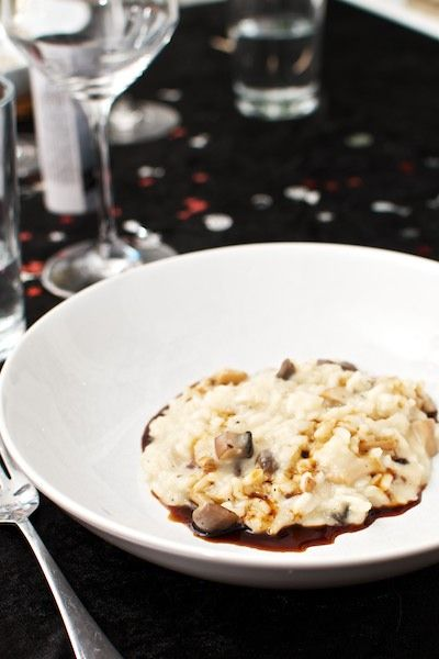 Classic mushroom risotto with aged balsamic vinegar