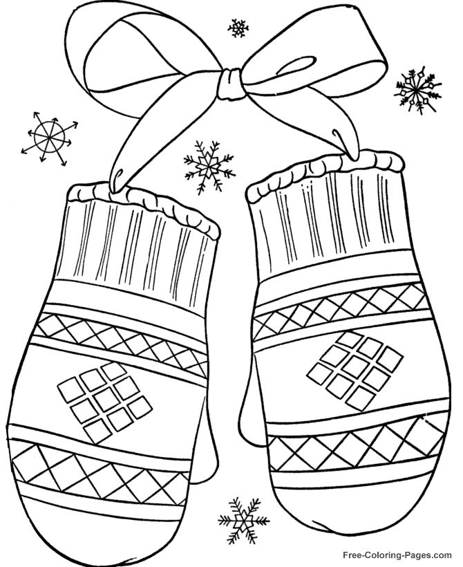 winter coloring pages winter mittens 12 - Free Holiday Coloring Pages For Kids