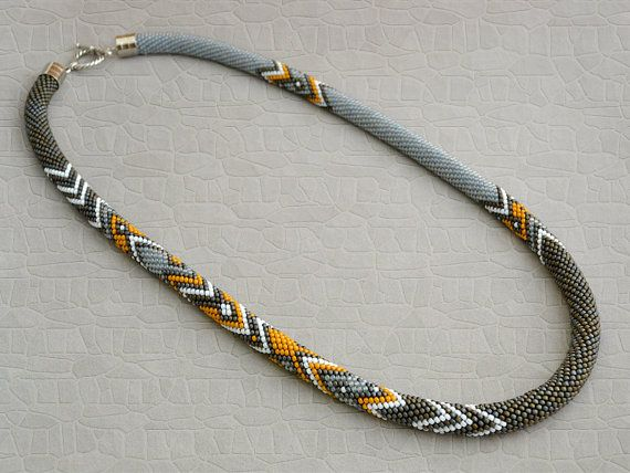 Made to order Bead Crochet Necklace Ethno crochet by Chudibeads