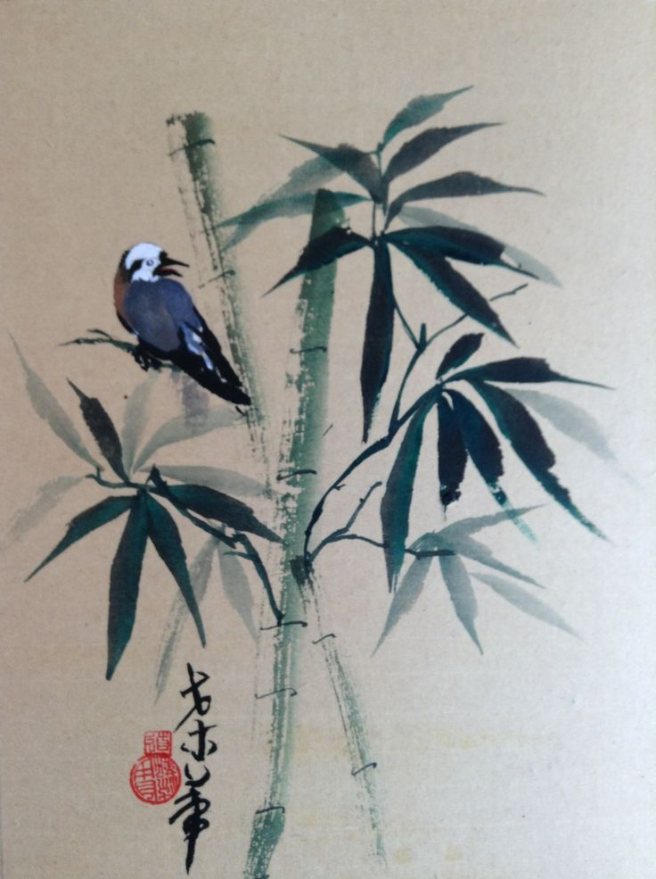 Bird in bamboo water color 8x10
