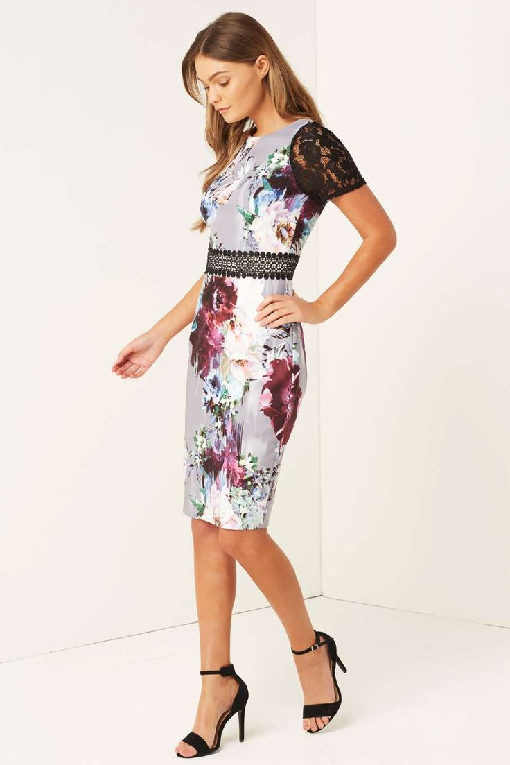 Womens **Little Mistress Multi Coloured Floral Bodycon Dress- Fl Multi