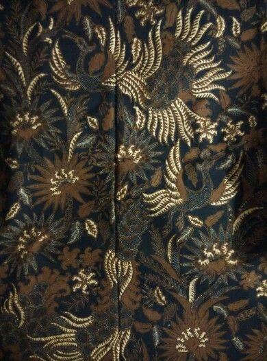 Batik origin Solo central Java,circa 1950,sogan color, phoenix and flower,beautiful.