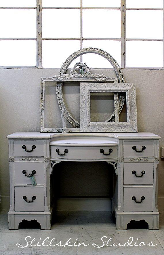 Shabby Cottage Victorian White Distressed Desk By StiltskinStudios 52500