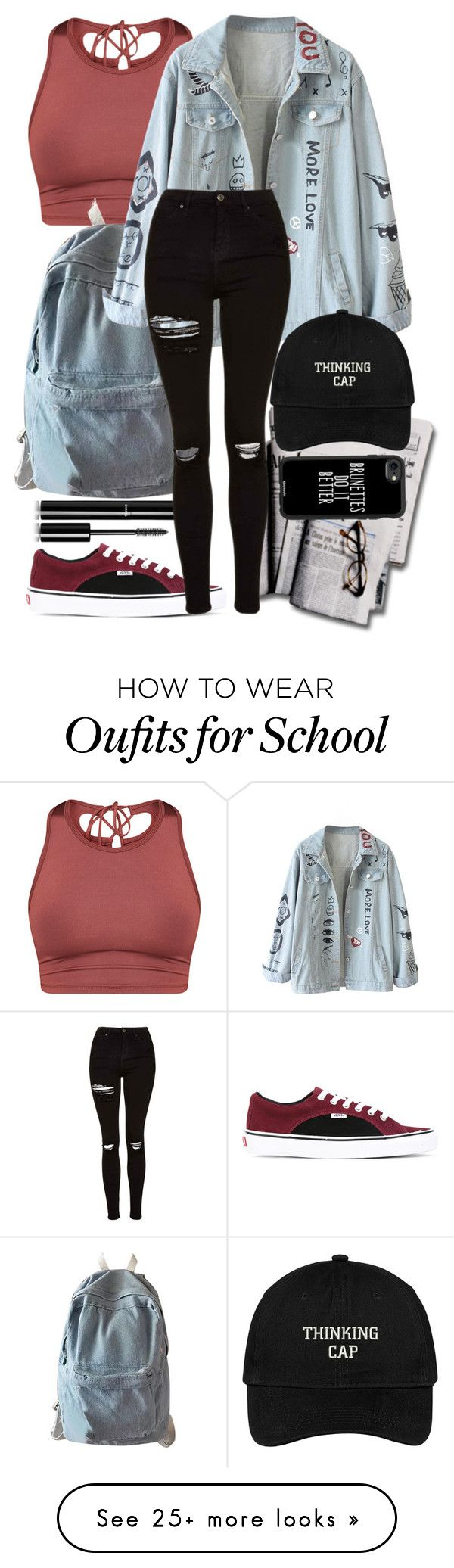 """Journalism Student"" by catherinetabor on Polyvore featuring Chanel, Vans, WithChic, Topshop, Casetify and vintage (Fitness Clothes Outfits)"