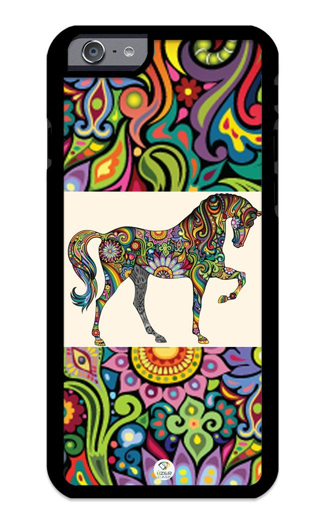 iZERCASE iPhone 6, iPhone 6S Case Horse Art on Colorful Pattern RUBBER CASE - Fits iPhone 6, iPhone 6S T-Mobile, Verizon, AT&T, Sprint and International. COLOR OPTIONS: Our rubber cases come in black and white options as shown in pictures above. PLEASE, S