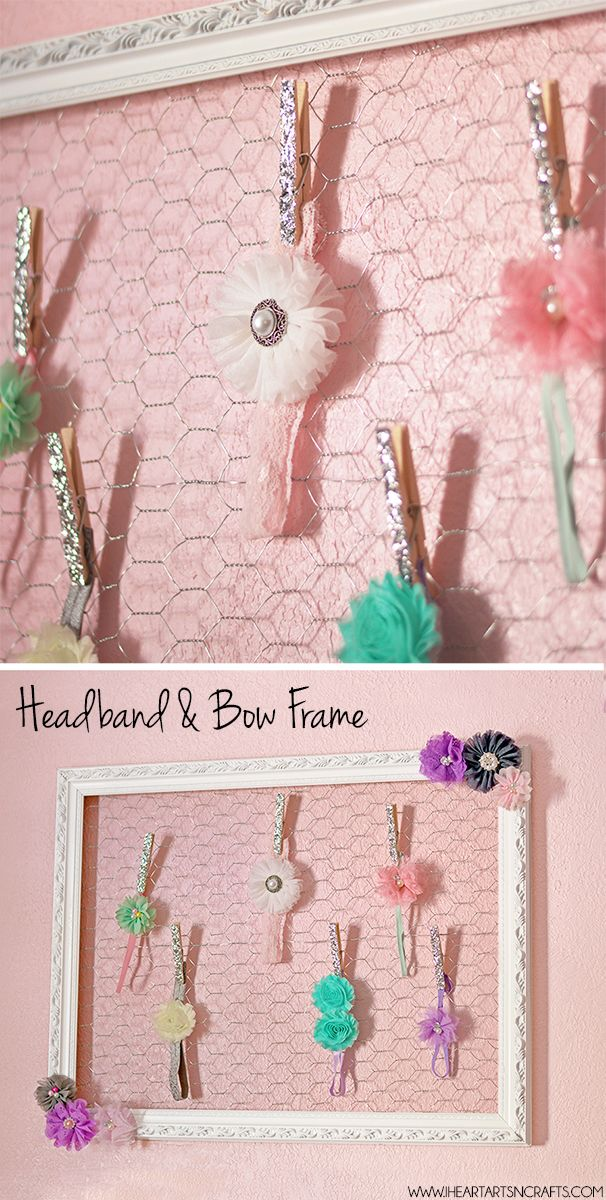 Easy DIY Headband and Hair Bow Frame Holder My daughter's headband collection has gotten a little out of control lately. They have been thrown into a large basket in her room so a lot of flowers get smashed and I always forget what ones we have because they're buried in the mess. I recently came …