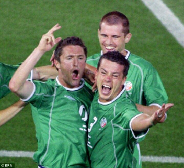 Robbie Keane and Ian Harte in Irish celebration mood
