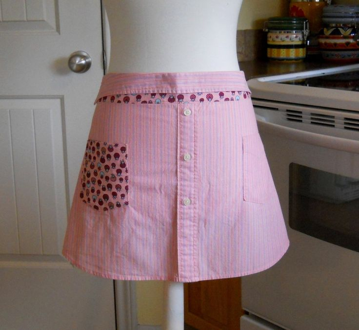 Upcycled Men's Shirt Apron - Pink Stripes with Pink Tomatoes   by Geneva Designs
