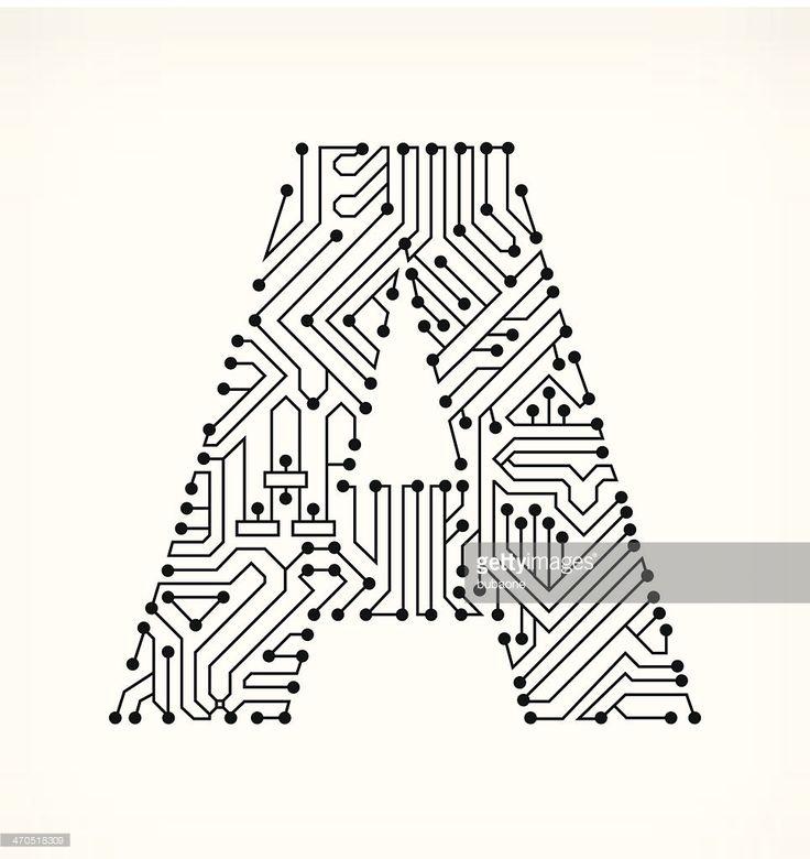 vektorgrafik   buchstabe a circuit board auf wei u00dfem